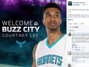 美国职篮NBA夏洛特黄蜂队宣布,达成与灰熊丶热火的三方交易,黄蜂换来前锋寇特尼李,可能挤压到台裔球员林书豪上场时间。(取自Charlotte Hornets脸书粉丝专页 facebook.com)