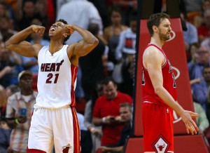 Hassan Whiteside of the Miami Heat reacts after dunking against Pau Gasol of the Chicago Bulls during the fourth quarter of an NBA basketball game at AmericanAirlines Arena in Miami on Tuesday, March 1, 2016. David Santiago dsantiago@elnuevoherald.com
