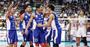The Ateneo Blue Spikers celebrate after getting a point in Game 2 of the UAAP Men's Volleyball Finals. Led by Marck Espejo (15) and Ysay Marasigan (8), the Blue Spikers notched their second straight UAAP title. TRISTAN TAMAYO/INQUIRER.net