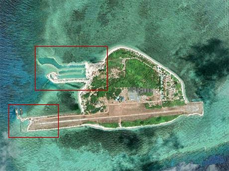 菲律宾在南沙群岛中业岛进行扩建活动,已出现港池丶码头和机场加长部分。