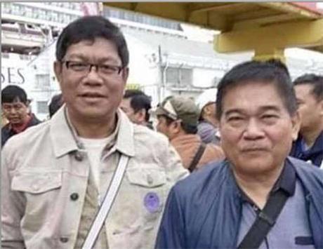 """菲律宾加洛干市市长奥斯卡•""""奥卡""""•马拉皮丹(右)与该市151社的社长加利•迪劳(Gally Dilao)的合影。"""